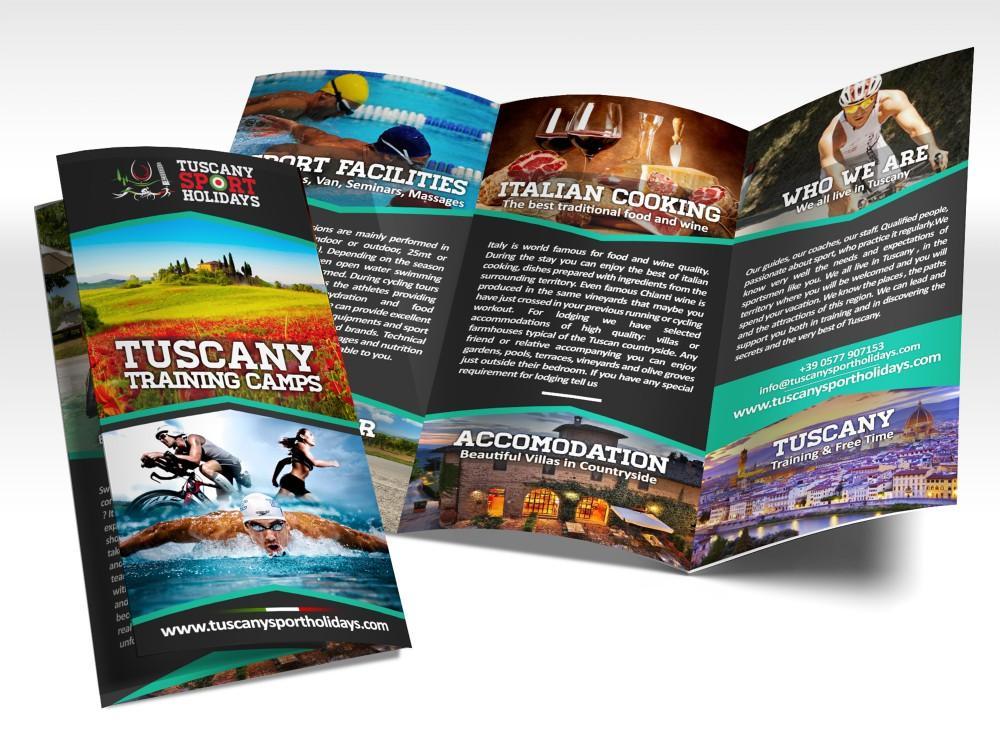 Grafica depliant e brochure per agenzia di viaggi sportivi in toscana