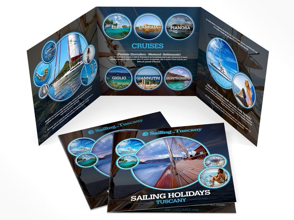 brochure per agenzia di viaggi in barca a vela che offre vacanze a vela nell'arcipelago toscano