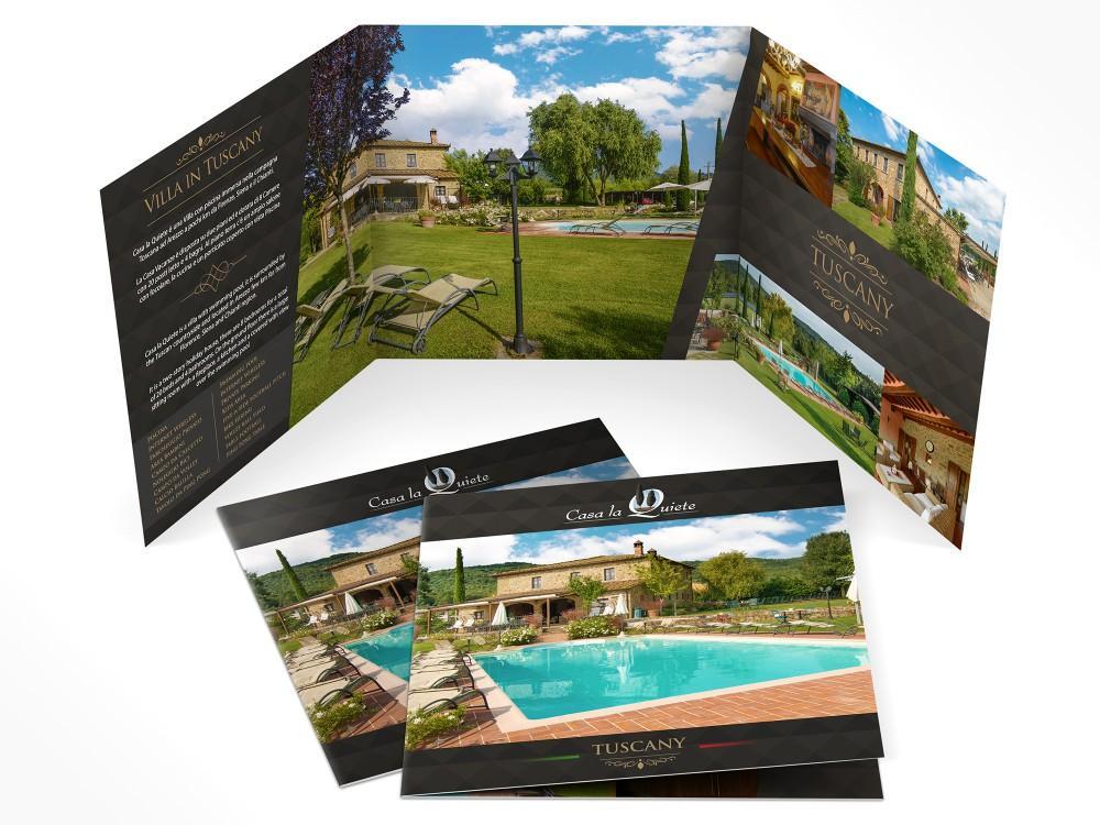 Realizzazione grafica Brochure per Villa con piscina per affitto turistico ad Arezzo in Toscana