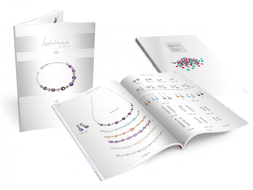 Impaginazione e grafica catalogo di gioielli e pietre preziose, servizio fotografico