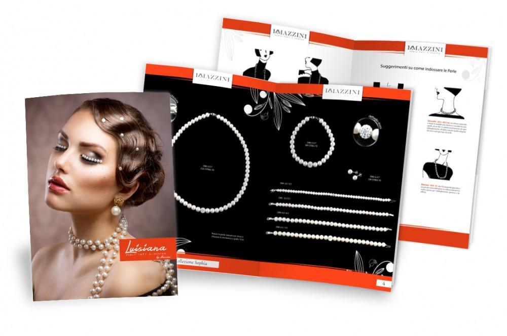 servizio fotografico per gioielli e collane in perle di acqua dolce e impaginazione catalogo aziendale con perle