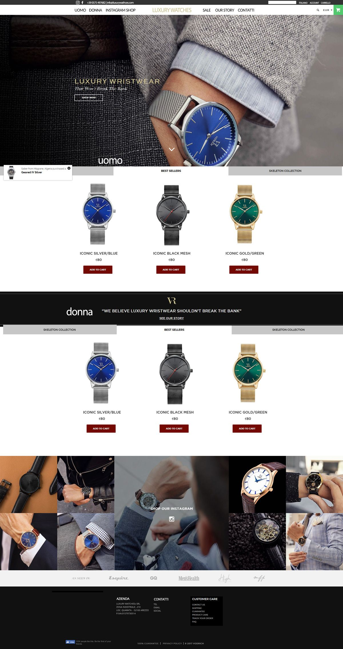 Realizzazione ecommerce per la vendita di orologi di lusso for Progetti per la vendita