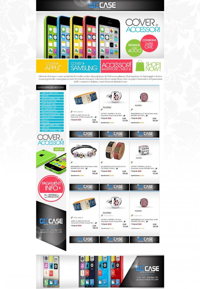 realizzazione grafica negozio ebay che vende cover per smatphone e accessori per cellulari