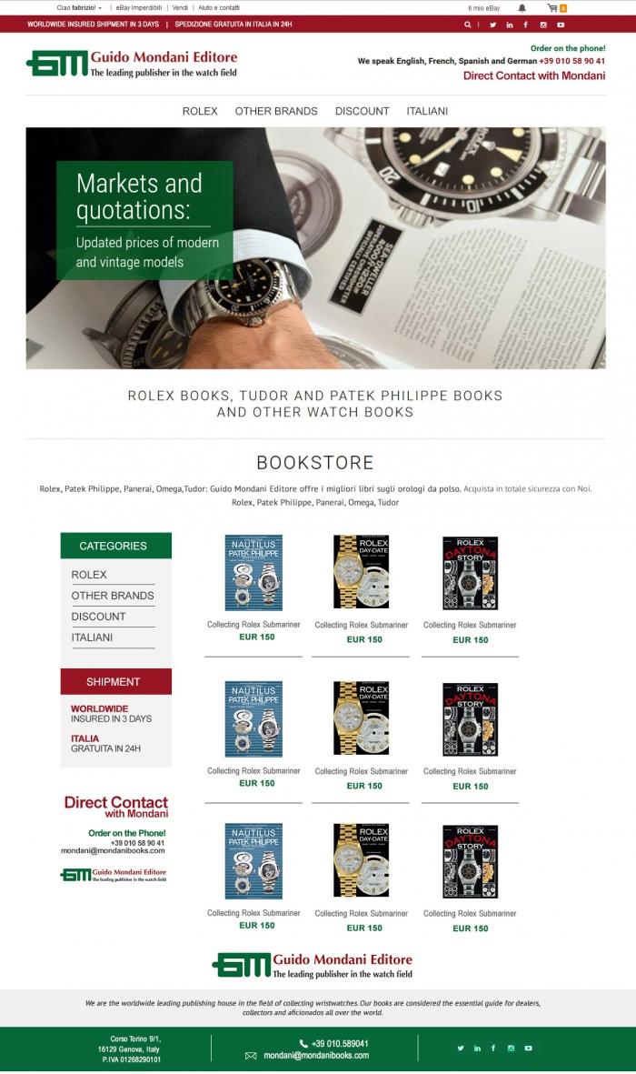 realizzazione grafica template negozio ebay che vende libri su orologi di lusso