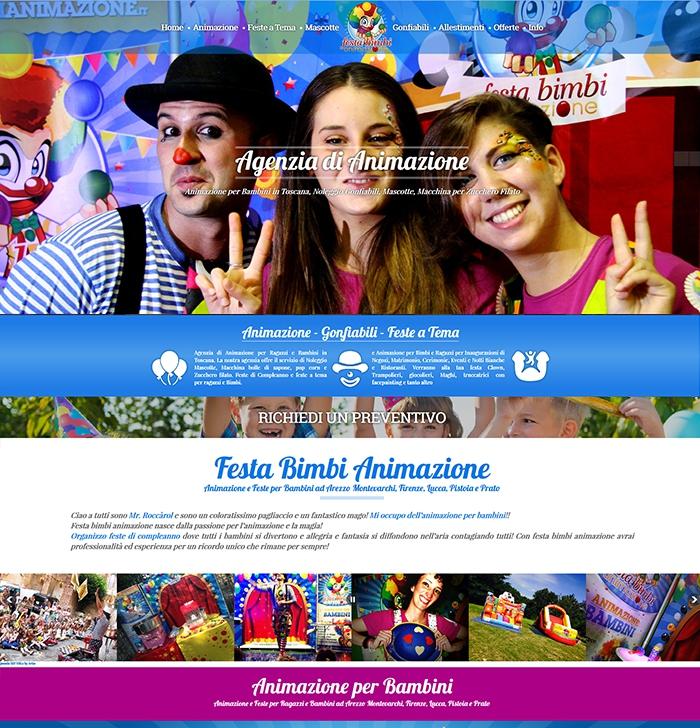 Realizzazione sito web per animazione per bambini e festa di compleanno ad Arezzo, Firenze, Siena, Lucca e Prato