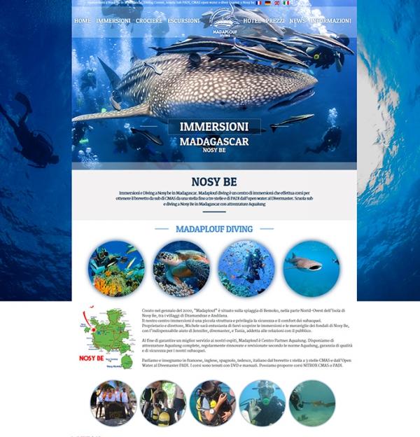 Realizzazione sito web per diving, immersione e sub a Nosy be in madagascar