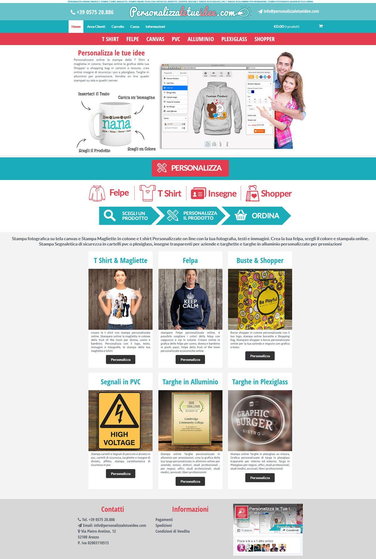 Realizzazione sito web ecommerce wordpress personalizzatore tshirt, felpe con cappuccio e stampa