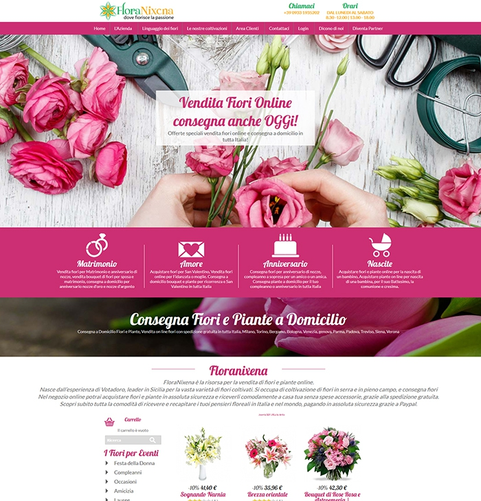 Realizzazione sito web ecommerce per la vendita di fiori online e consegna a domicilio fiori