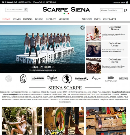 Realizzazione sito web ecommerce per la vendita online scarpe di marca