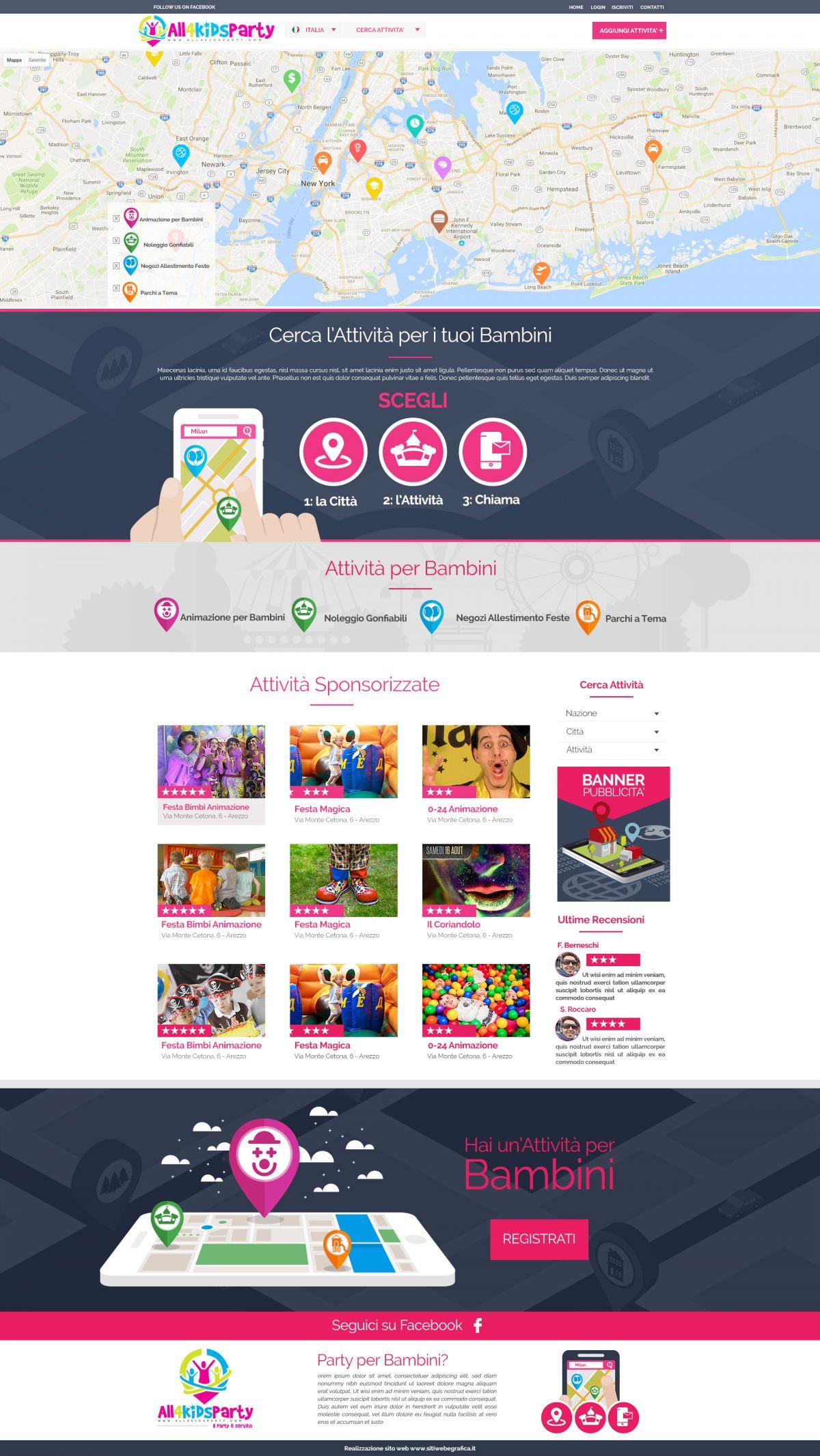 Sito Web per organizzare feste ed eventi per Bambini in tutta Italia